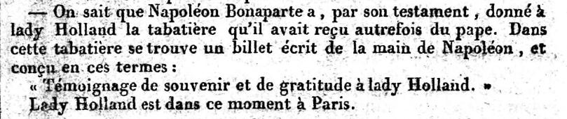 Ausschnitt aus Le Constitutionnel No.198, 17. Juli 1821