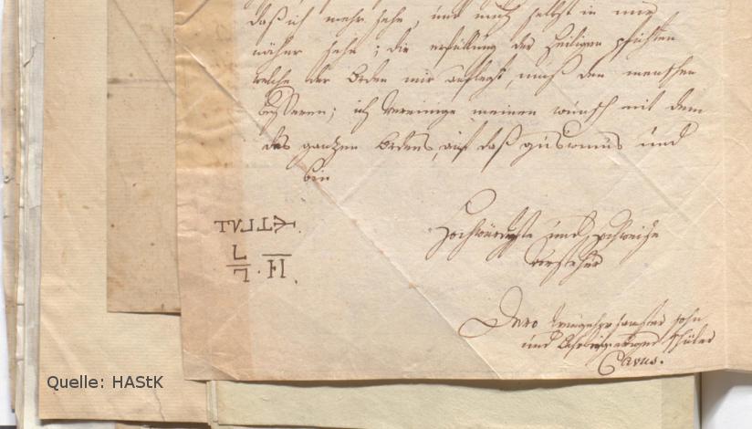 Grußformel von Brief an den Geheimbund der Rosenkreuzer