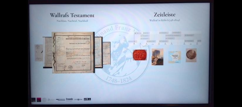 Touchpad mit transkripierten Testamentsversionen und visueller Zeitleiste, Foto: Christine Schmitt, CC BY 4.0