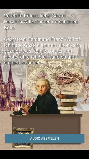 """Startseite App """"Wallrafs Köln"""", Grafik: Uni Köln"""