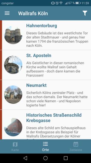 90 anwählbare Orte in der App, Grafik: Uni Köln