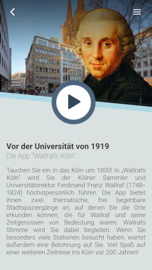 Ferdinand Franz Wallraf in der Uni-App, Bildrechte: Universität zu Köln, Jens Alvermann