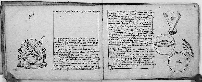 Armillarsphäre, Mathematisch-astronomische Sammelhandschrift, 17. Jhdt., Best. 7004 (Handschriften (GB quart)), Nr. 157, fol. 49v–50r, Historisches Archiv der Stadt Köln.